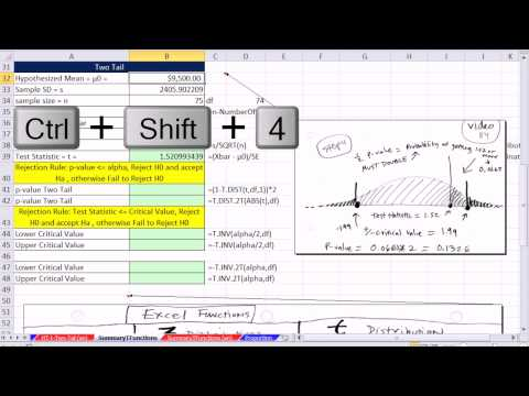 Excel 2013 Statistical Analysis #60: T.DIST, T.DIST.RT, T.DIST.2T, T.INV, T.INV.2T functions