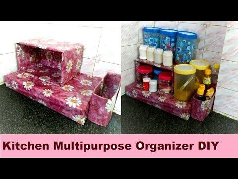 DIY Spice Organizer for Kitchen - Kitchen Organization Idea | Multipurpose storage Kitchen Organizer