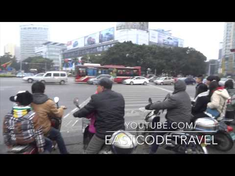 Chinese city street crossing  Nanning , Southern China