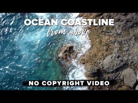 Ocean Coastline Bird Eye View -  Drone Background - No Copyright Video - 4K Ultra HD