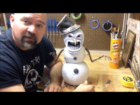 How to make a Christmas twisted snowman from paper mache part three