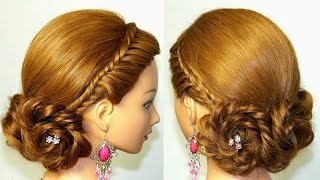 Prom, bridal hairstyle for long hair. Braided updo