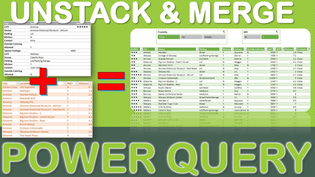 Excel Power Query Tutorial: Unstack & Merge Data Using Power Query
