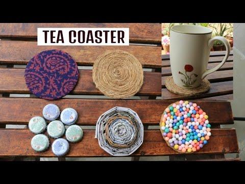 5 DIY TEA COASTER made with WASTE   DRINK COASTER