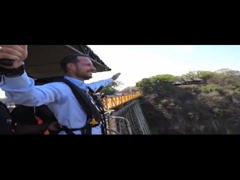 Crown Prince Haakon bungee jumps from Victoria Falls Bridge