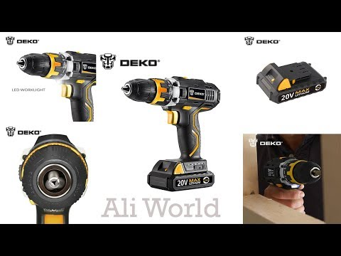 20V DC Household DIY Woodworking Lithium Ion Battery Cordless Drill.