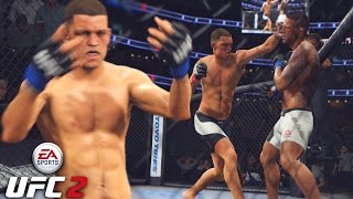 Nate Diaz's Hands Should Be ILLEGAL! Tagging Up Dos Anjos! EA Sports UFC 2 Online Gameplay