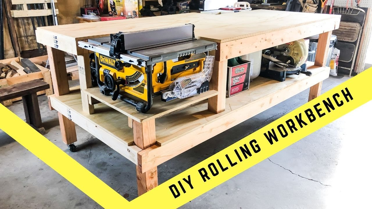How To Make A Rolling Table Saw And Jointer Work Bench Diy Youtube