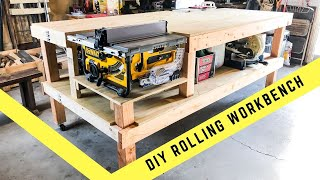 HOW TO MAKE A ROLLING TABLE SAW AND JOINTER WORK BENCH  // DIY