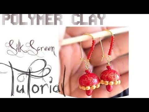 DIY Bell | Hollow Jhumka Earrings PolymerClay Tutorial ( Smudge Proof Silk Screen Dome) #27