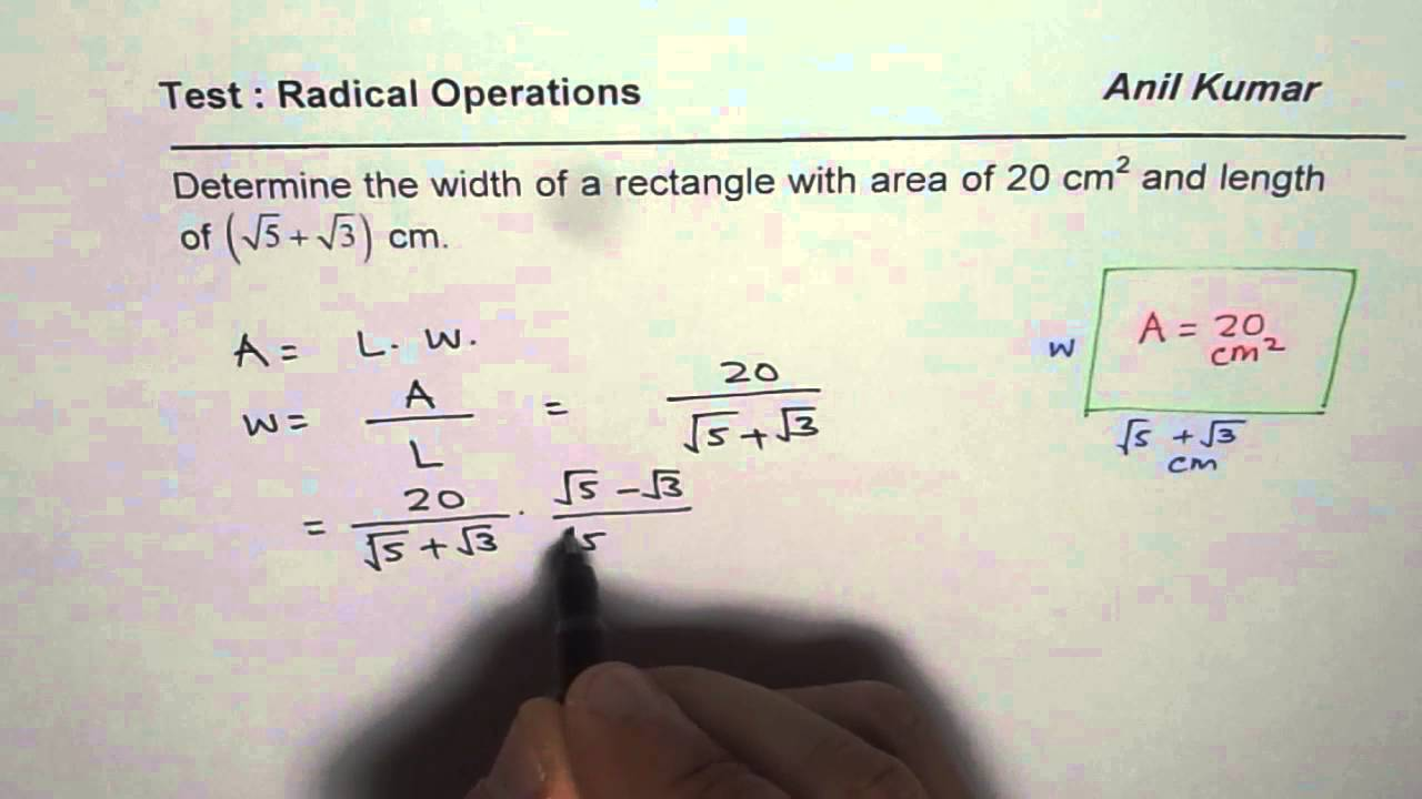 Find The Irrational Width Of The Rectangle From Given Area And Length How  To Find Volume With