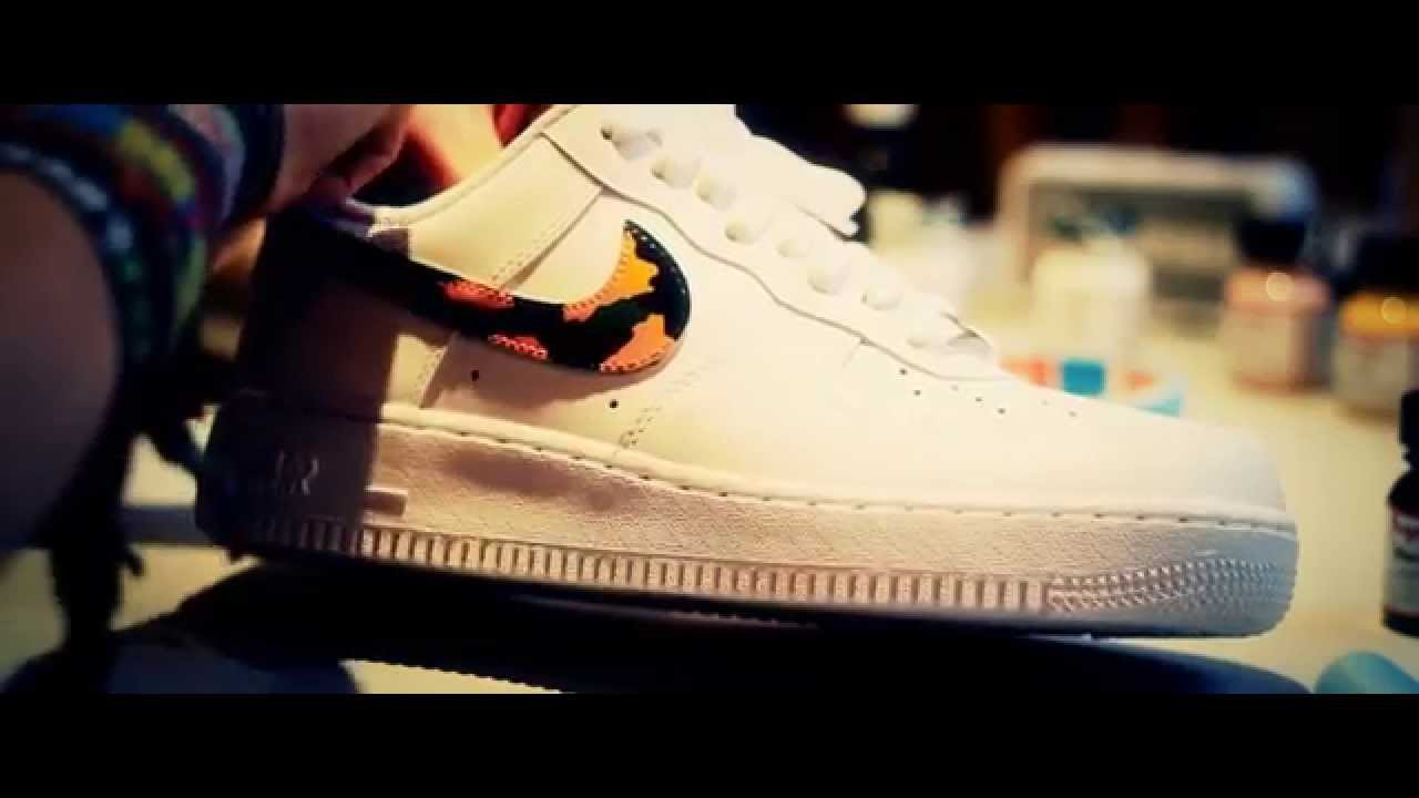 4f86d14310d6e0 Camouflage Custom Nike Air Force 1 WillyB Custom - AIR FORCE 1 - AF1 CAMO  Angelus - YouTube BAPE x Nike ...