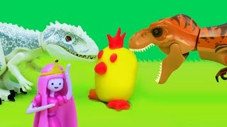 Dino Surprise #1: T-Rex Hunting Play Doh Surprise Eggs / Dinosaurs Stop Motion