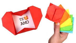 How to Make Heart Box Envelope   Easy Origami Pop Up Heart Envelope with Message for Valentine's Day