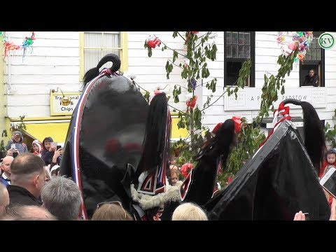 Padstow May Day Celebrations 2018, The Obby Oss's ending the day around the Maypole