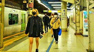 【4K】JR渋谷駅ホーム内 改良工事状況 (Relaxing Binaural Sounds for Sleep) ASMR 2021.04 19:15