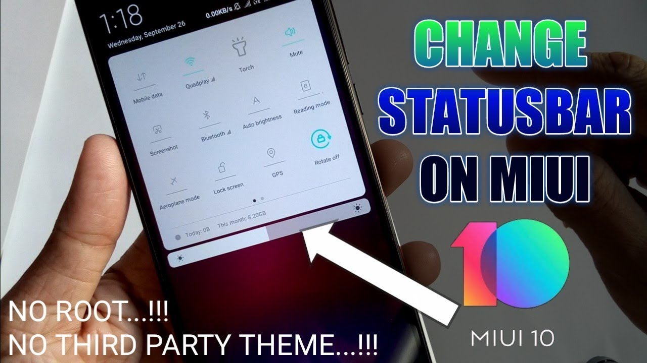 Change Status Bar on MIUI 10 no root no third party theme / How to change  miui 10 Status bar best