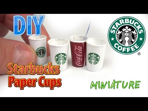 DIY Miniature Starbucks Hot Cups | DollHouse food for Barbie