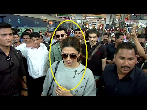 Ranbir Kapoor and Deepika Padukone MOBBED by FANS at Mumbai Central Railway Station.