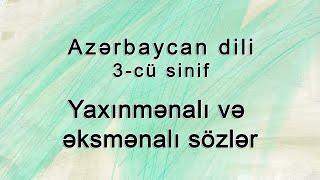 Azərbaycan Dili Yaxinmənali Və əksmənali Sozlər Youtube