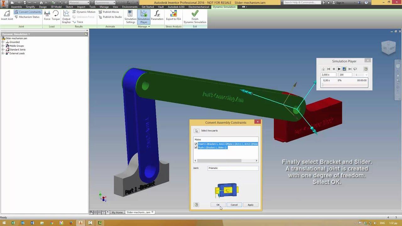 2016 Bmw M5 >> Inventor 2016 Dynamic Simulation-Slider Mechanism - YouTube