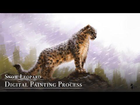 Snow Leopard – Digital Painting Process #digitalpainting #digitalart #artvideo