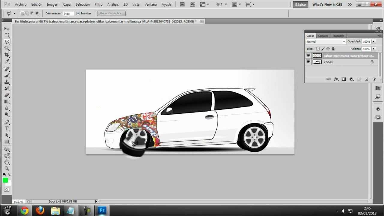 Como Plotear Un Auto En Photoshop cs5 - YouTube