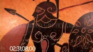 0711 Black figure amphora depicting armored warriors in hand-to-hand combat (replica)