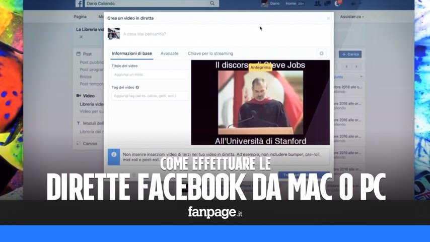Camere Da Sogno Facebook : Come effettuare dirette video facebook da mac e pc con file e
