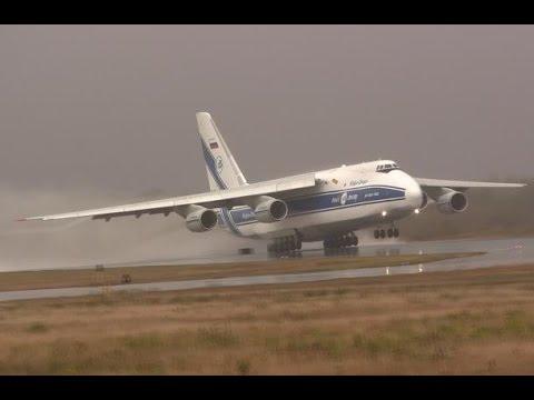 Massive Airplane Takes Off in Heavy Rain