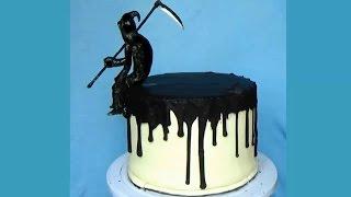 Торт на Хэллоуин. Как украсить торт. как украсить торт пошагово. Украшение тортов видео.