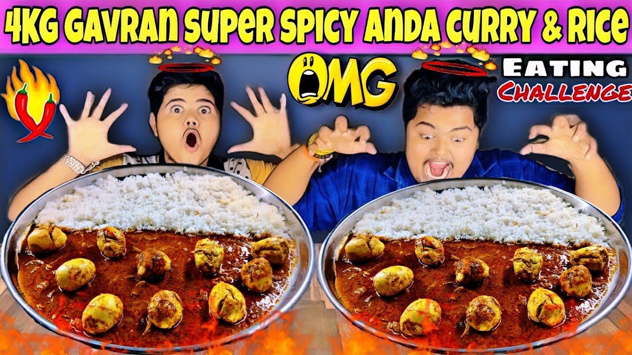 Gavran Super Spicy Egg Curry & Basmati White Rice Eating Challenge😋 | food challenge🔥 Kanda Lovers