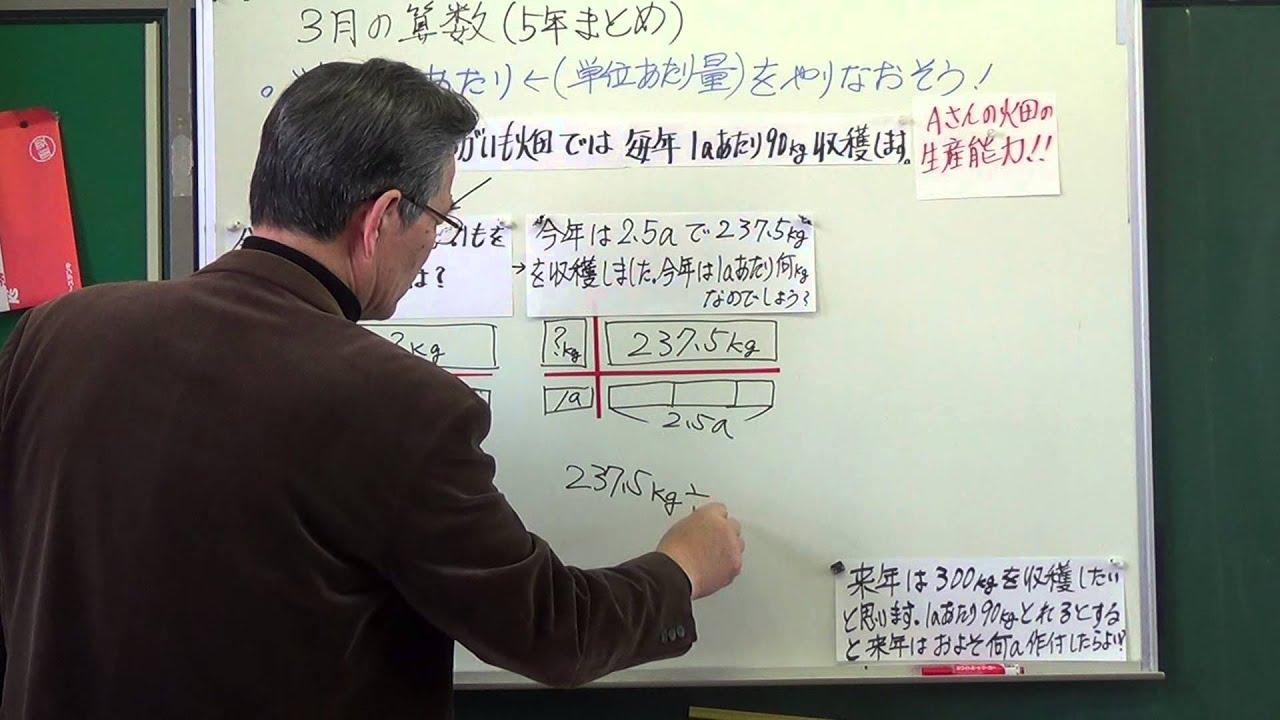 算数授業小5 算数まとめ 単位量当たり復習