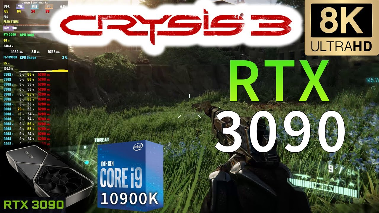 Crysis 3 8K | RTX 3090 | i9 10900K 5.2GHz | Very High Settings