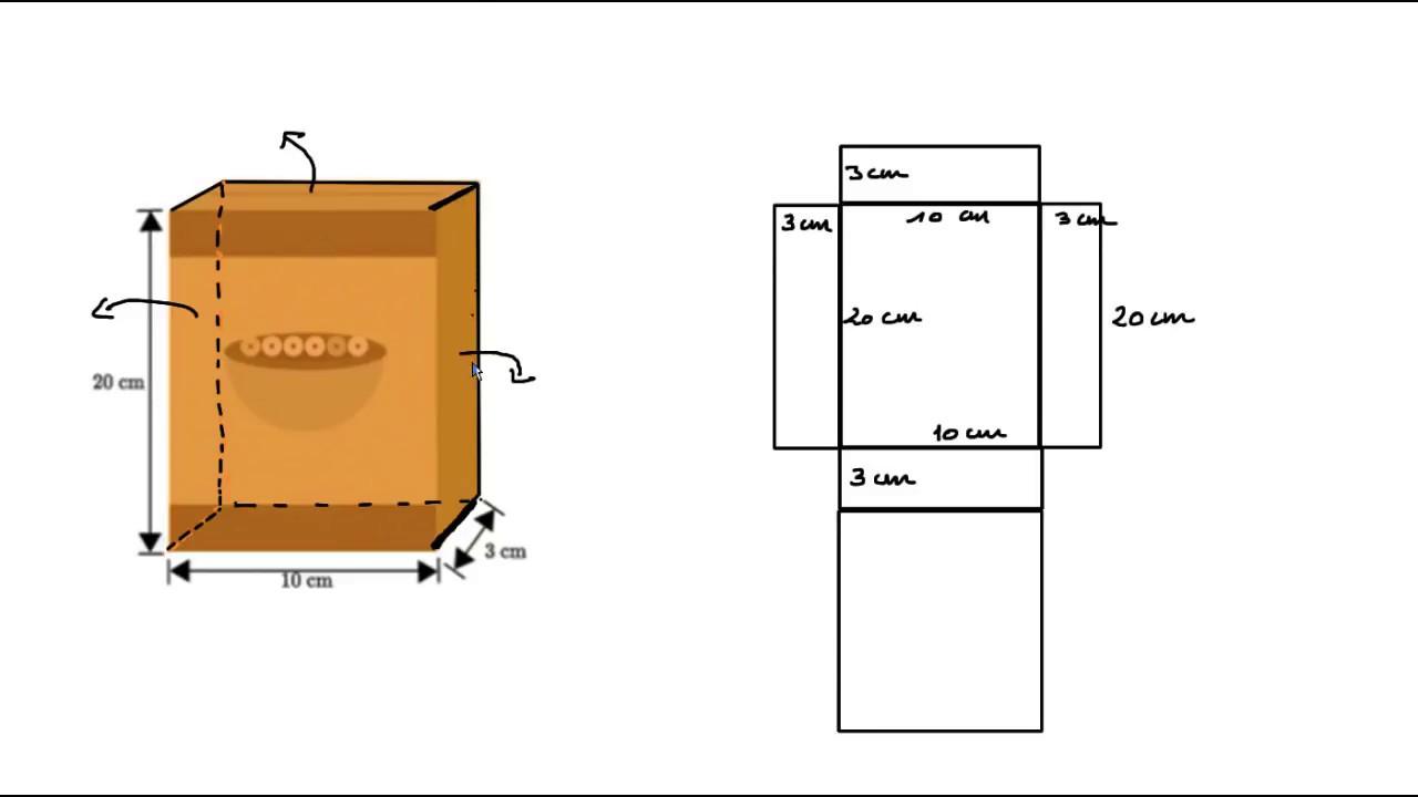 calculer l 39 aire d 39 une boite l 39 aide d 39 un patron youtube. Black Bedroom Furniture Sets. Home Design Ideas
