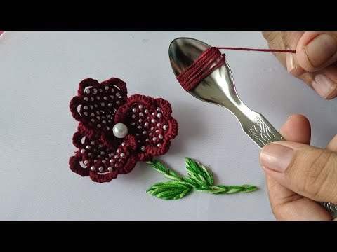 Amazing Hand Embroidery Flower Design Trick | 3d Hand Embroidery Flower Design Idea:kurti/dress/suit