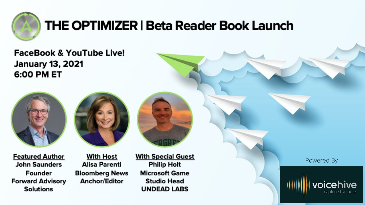 THE OPTIMIZER Beta Reader Virtual Book Launch hosted by Alisa Parenti, Bloomberg Radio