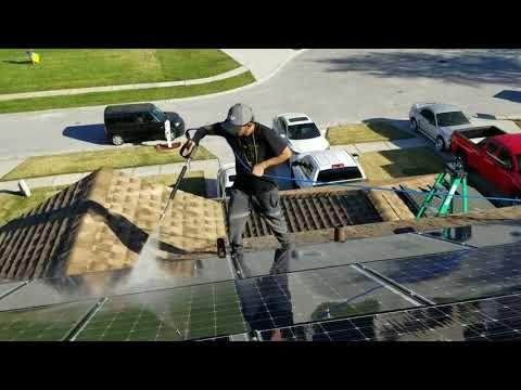Cleaning Panasonic HIT Solar Panel Array