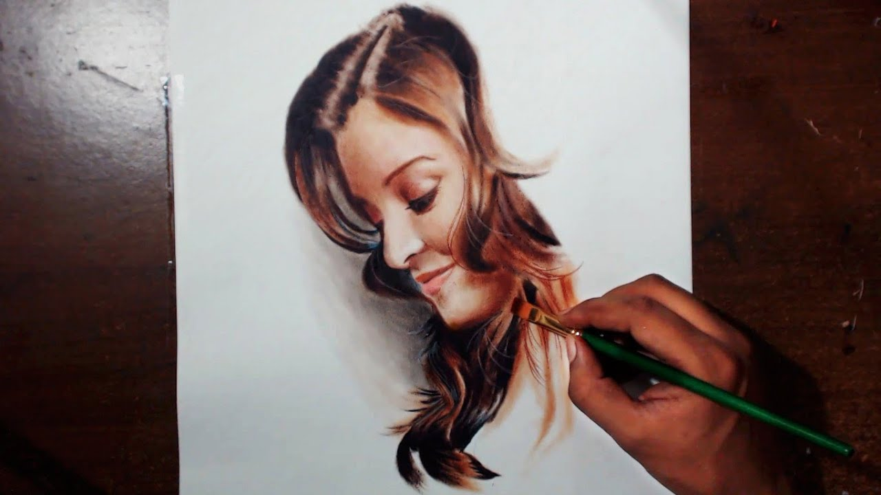 Drawing Aishwarya Rai Oil Painting Dry Brush