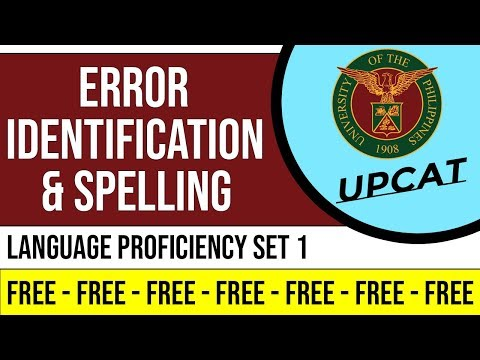 UPCAT   LANGUAGE PROFICIENCY SET 1 Error Identification & Spelling