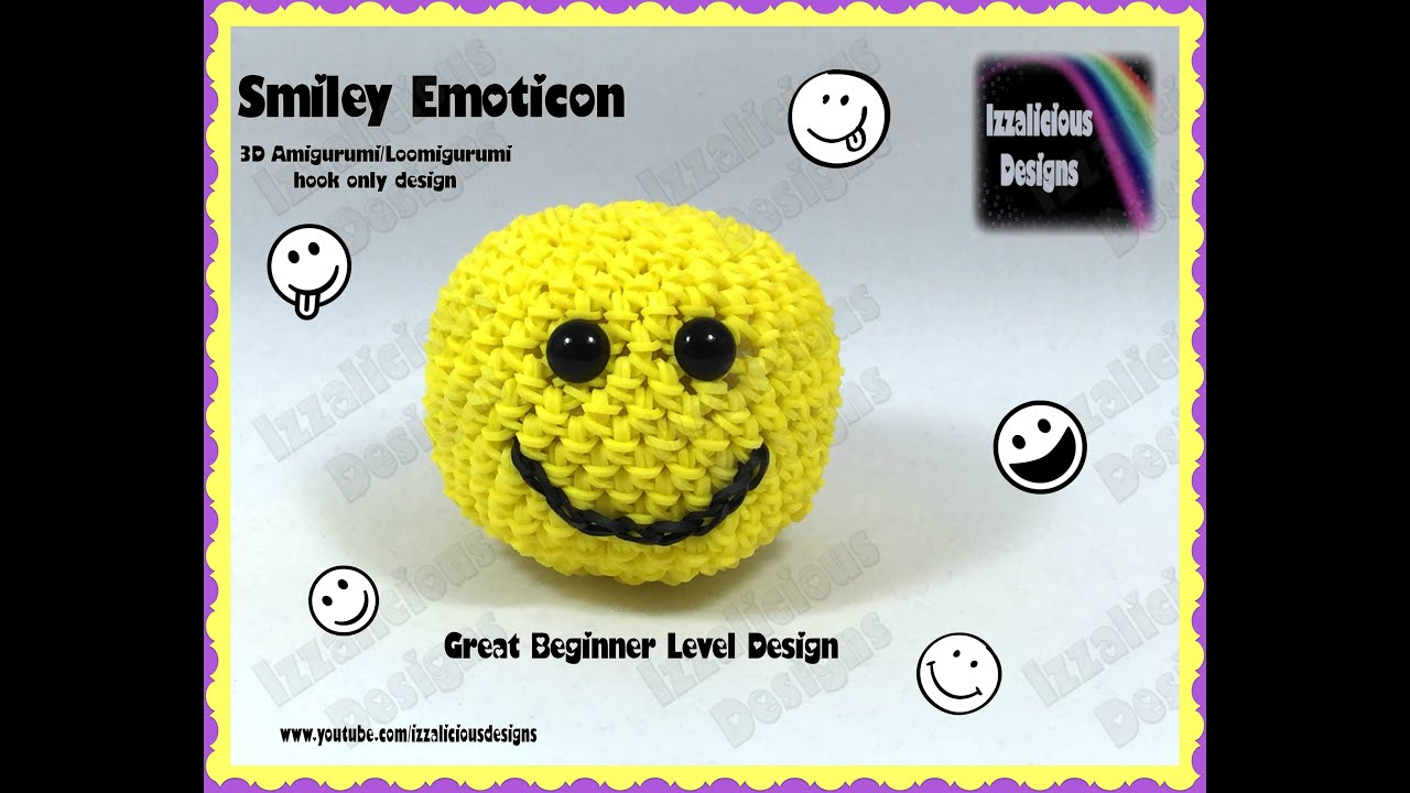 Crochet Amigurumi Smiley Faces : Rainbow Loom 3D Amigurumi/Loomigurumi Smiley Emoticon Ball ...