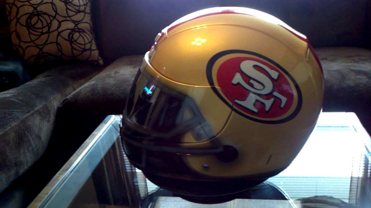 Motorcycle gloves san francisco - Custom Painted San Fransico 49ers Helmet