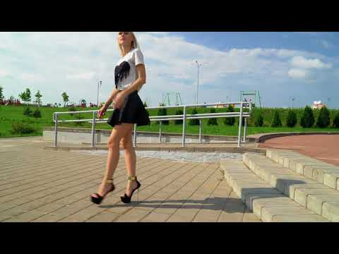 Confident Walk in Heels. High Heel pumps walking