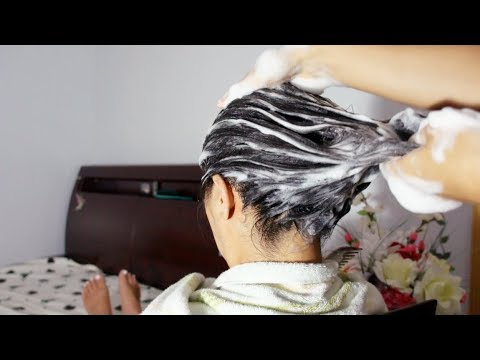 ASMR Shampoo + Scalp Scratching Massage (SUPER SATISFYING OMG)!! Brushing Wet Hair Included :)