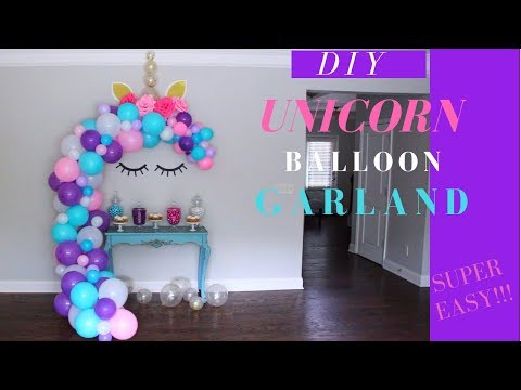 DIY Unicorn Themed Birthday Decor | DIY Unicorn Balloon Garland Tutorial | Kids Party Decor