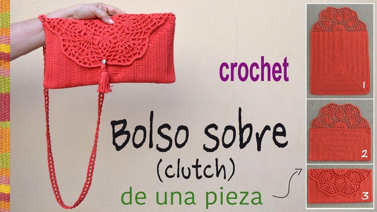 Bolso tipo sobre (o clutch) tejido a crochet en ¡UNA PIEZA ...