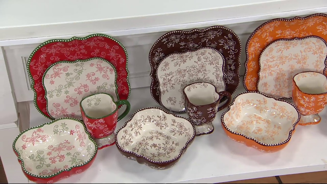 Temp-tations Old World or Floral Lace 16pc Square Dinnerware Set on QVC & Temp-tations Old World or Floral Lace 16pc Square Dinnerware Set on ...