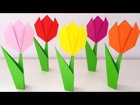 🌷 Как сделать тюльпан из бумаги своими руками ОРИГАМИ Тюльпан Подарок на 8 марта маме своими руками