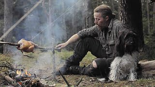3 days solo bushcraft - Location 1 - Bow drill - Div saw - Chick on stick - Reflector - Canvas tarp