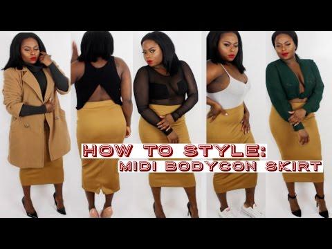 How To Style | Midi Bodycon Skirt | Lookbook